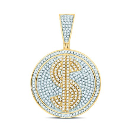 - 10kt Yellow Gold Mens Round Diamond Dollar Sign Circle Charm Pendant 1.00 Cttw