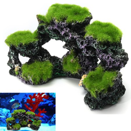 Aquarium Mountain View Resin Coral Reef Moss Rock Cave Stone Fish Tank Ornament