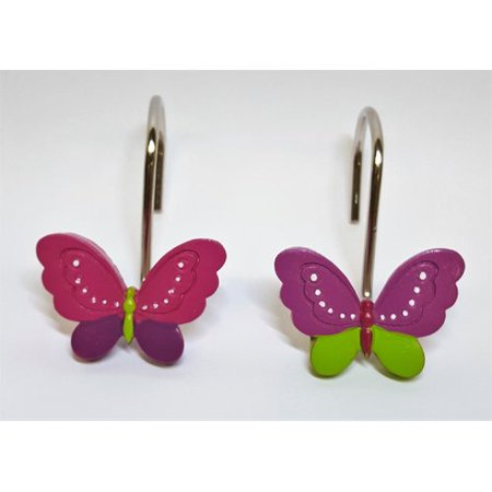 Ben and Jonah Neon Butterfly Shower Curtain Hooks (Set of 12)