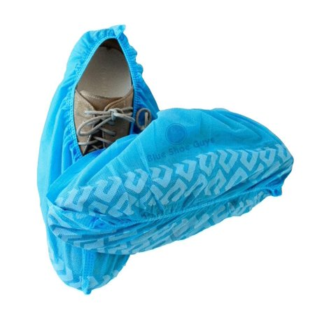 Blue Shoe Guys | 100 Premium Disposable Shoe & Boot Covers | Durable & Non-Slip, Water Resistant, Recyclable | One Size Fits Most ()