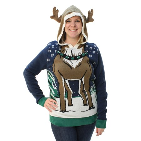 Ugly Christmas Sweater Loose Fit Women's Hooded Reindeer - Ugly Christmas Sweater Kit