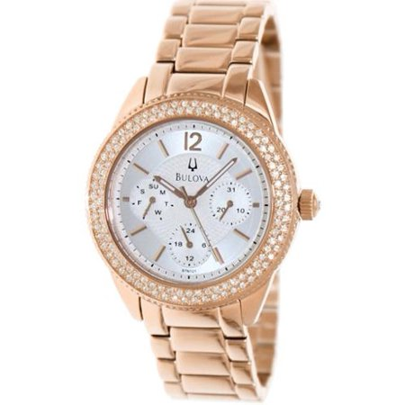 Bulova Women's Rose Gold-Tone Crystal Stainless Steel Watch