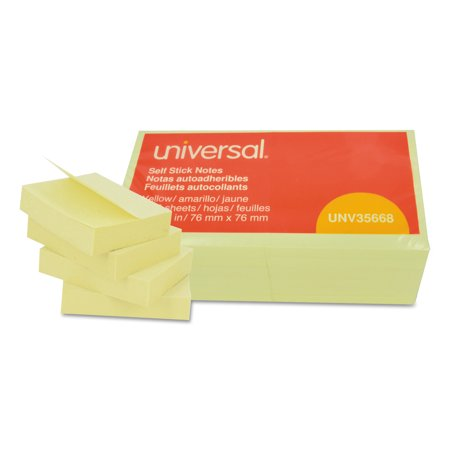 Universal Self-Stick Note Pads, 3 x 3, Yellow, 100-Sheet, 12/Pack -UNV35668 (Notes Notepad)