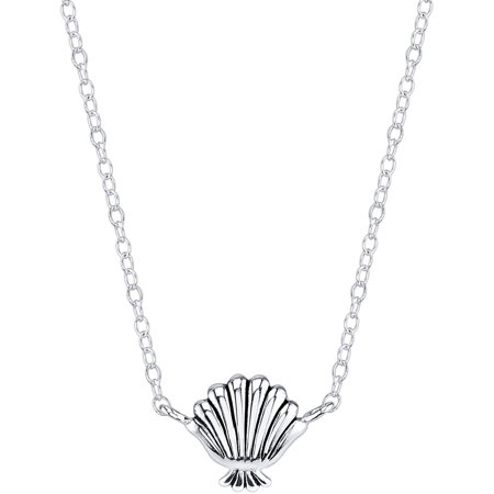 Princess Women's Sterling Silver Little Mermaid Seashell Station Necklace](Disney Princess Necklace)