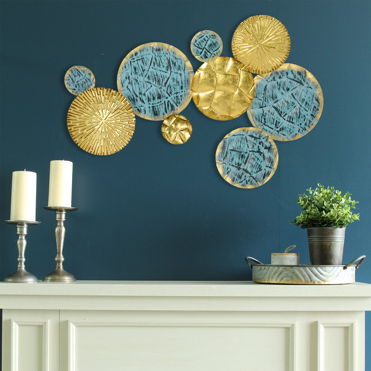 Walmart Home Decorations: Stratton Home Decor Jewels Of The Sea Metal Plates Wall