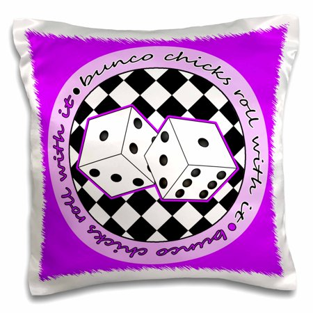 - 3dRose Bunco Chicks Roll With It Purple - Pillow Case, 16 by 16-inch