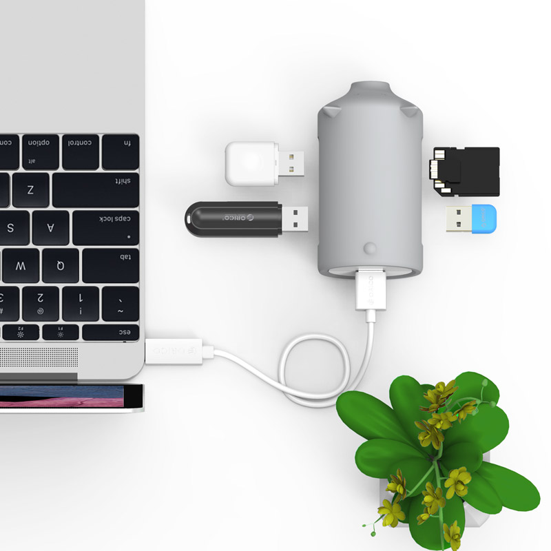 Piggy Hi-Speed 3 Port USB3.0 HUB OTG TF Reader Adapter for Cellphone Notebook Expansion with Date Cable