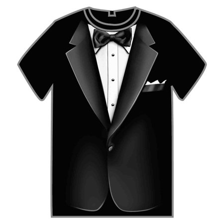 Adult Large Black Formal Tuxedo Suit Gentleman's Costume T-Shirt