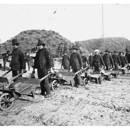 Shermans Troops Uses Wheel Barrows To Convey Cannonballs To The Front Lines Poster Print