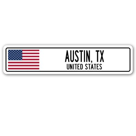 AUSTIN, TX, UNITED STATES Street Sign American flag city country   gift - Halloween Carnivals In Austin Tx