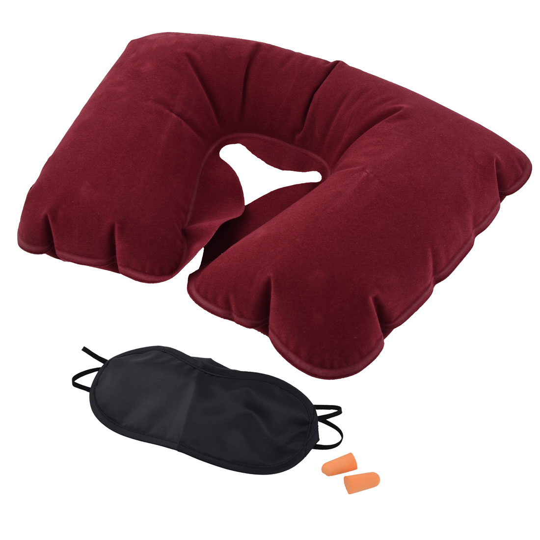 Home U Shape Pillow Relaxing Inflatable Neck Eyes Mask Earphone Burgundy 3 in 1