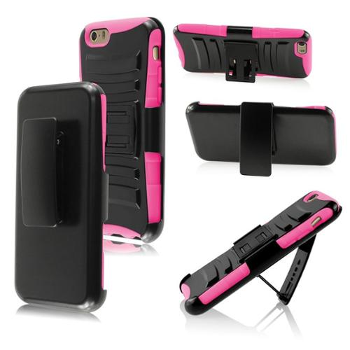 Insten Black+Pink Rugged Impact Hybrid Hard Shockproof Protective Case Belt Clip Holster For iPhone 6S 6 6th 4.7 inch