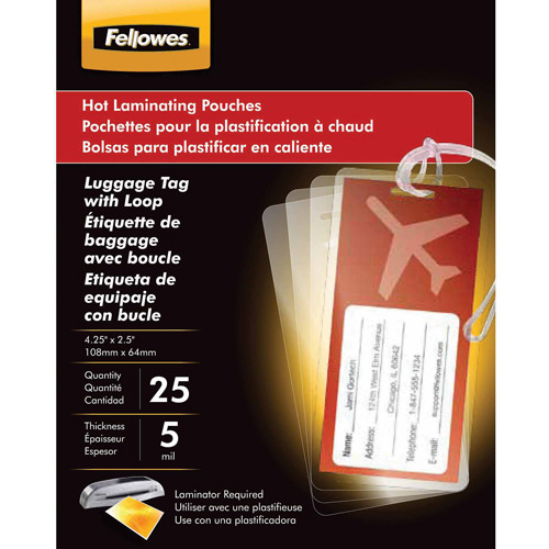 Fellowes Laminating Pouches, Luggage Tag Style, 25pk