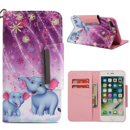 iPhone 8+ Plus Wallet Case, iPhone 7+ Plus Case, Allytech 3D Bling Crystal Rhinestone Slim PU Leather Flip Cover with Card Holder Stand Protective Book Case Cover for iPhone 8+ 7+, Fireworks Elephant