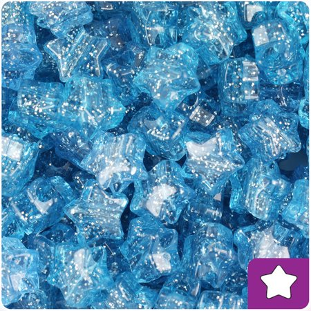BeadTin Light Sapphire Sparkle 13mm Star Pony Beads (250pcs)