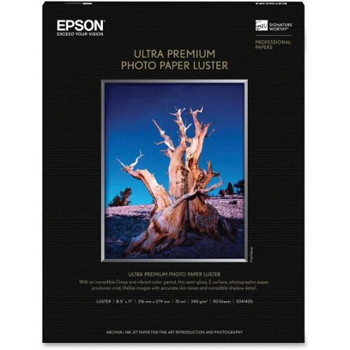 "Epson Ultra Premium Luster Photo Paper - Letter, 8.5"" x 11"" - 50 Sheets (White)"