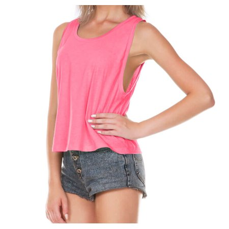 Kavio! Juniors Jersey Scoop Neck Boxy Crop Tank Pink Flash S
