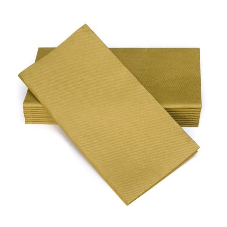 "SimuLinen Dinner Napkins – Disposable, GOLD, Cloth-Like – Elegant, yet Heavy Duty Soft, Absorbent & Durable – 16""x16"" – Box of 50 - Gold Dinner Napkins"