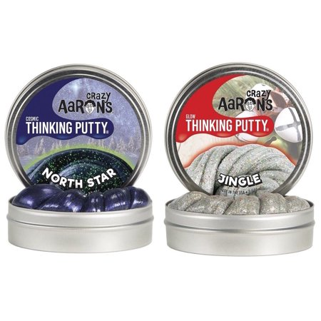 "Crazy Aaron Thinking Putty Cosmic North Star & Glow Jingle 3.2 Oz 4"" Tin 2 Pack"