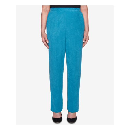 ALFRED DUNNER Womens Blue Faux Suede  Pull On Pants  Size: 12 Dark Blue Faux Suede