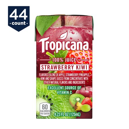 Kiwi Juice - Tropicana 100% Juice Box, Strawberry Kiwi, 4.23 oz Boxes, 44 Count