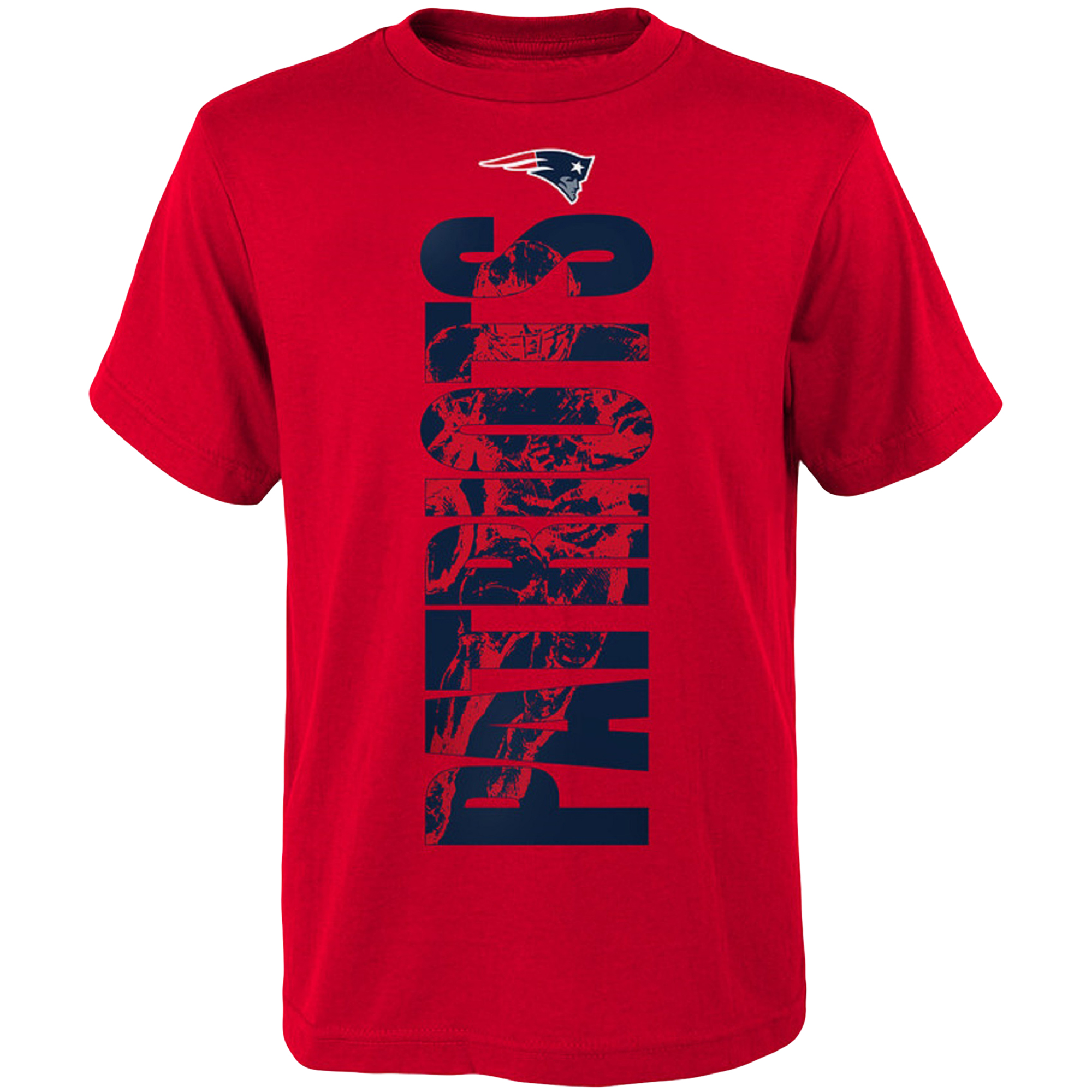 Youth Red New England Patriots Side T-Shirt