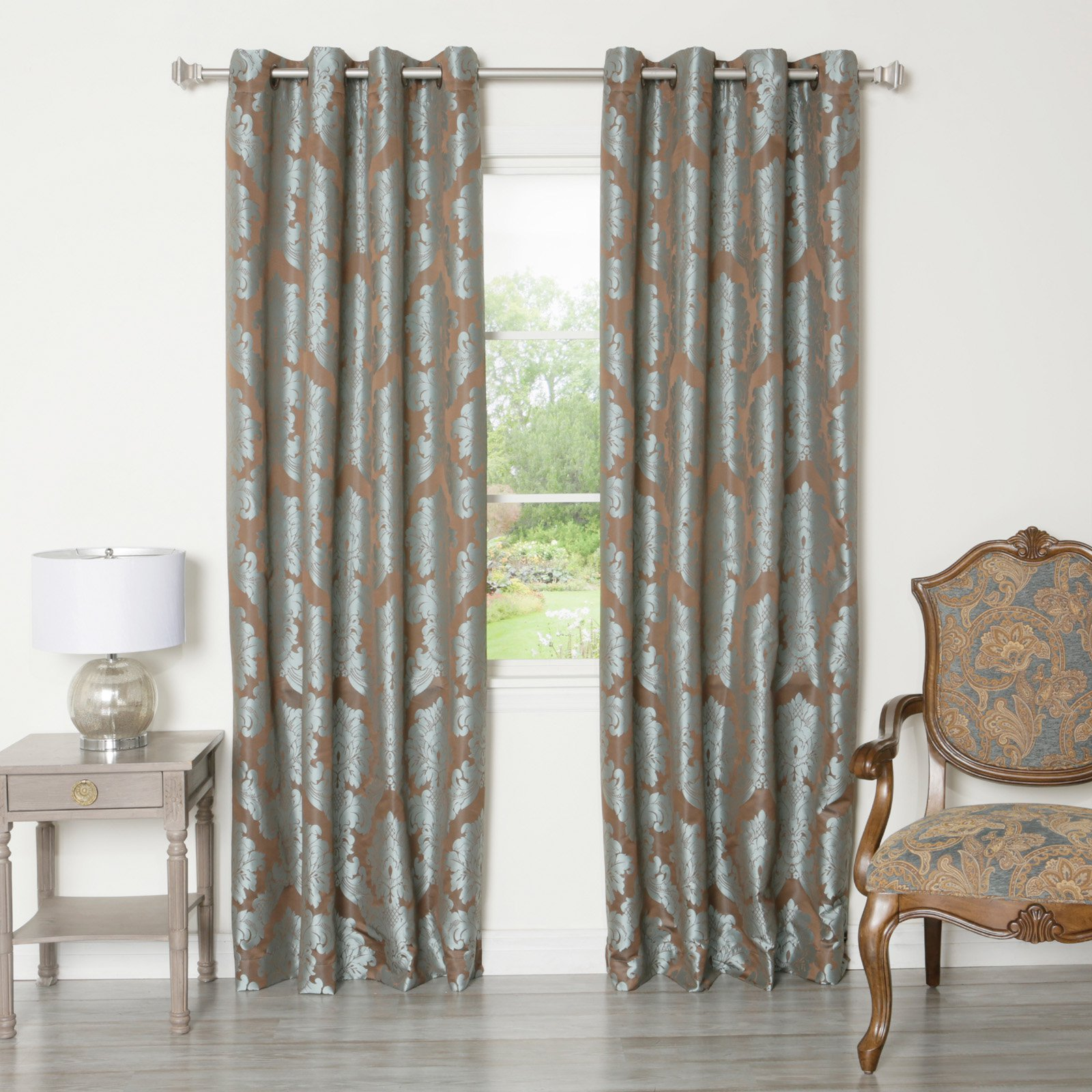 Best Home Fashion Damask Jacquard Grommet Top Curtain Panels