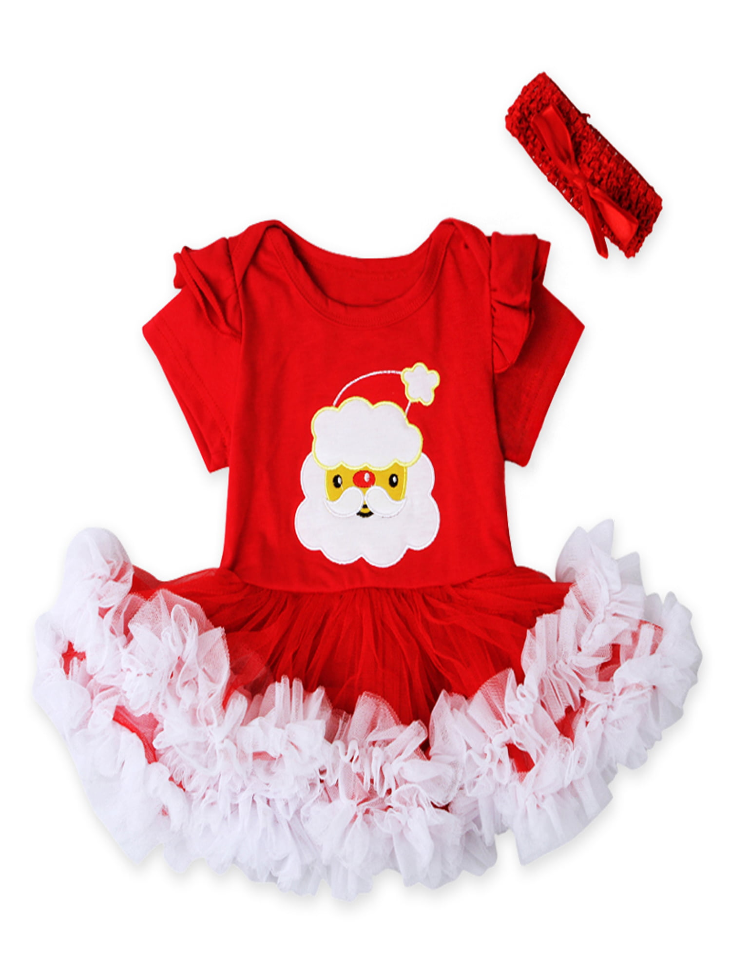 Newborn Infant Baby Girl Christmas Tree Romper Tops Tutu Skirt Xmas 2PCS Outfits Clothes Set