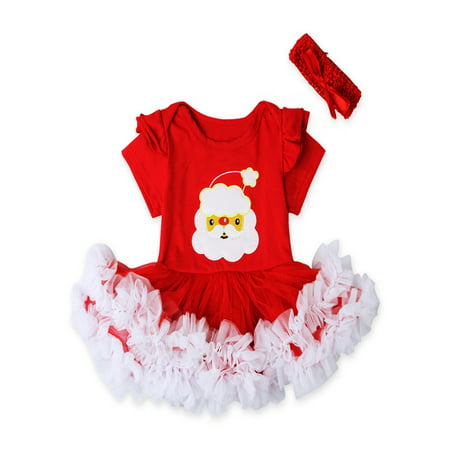 Childrens Santa Outfits (Newborn Baby Girl Christmas Santa Romper Tutu Dress Headband Outfit Clothes)
