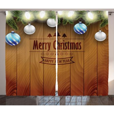 Christmas Curtains 2 Panels Set, Wooden Setting with Bright Silver Balls Fairy Lights and Pine Twigs Best Wishes Theme, Living Room Bedroom Decor, Brown, by