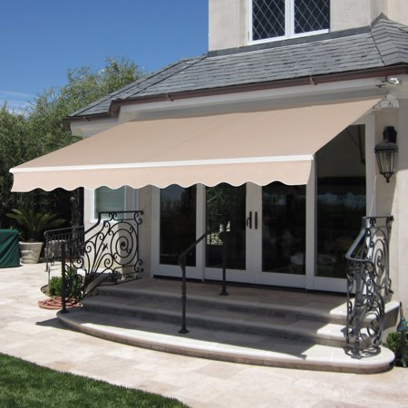Best Choice Products 98X80in Retractable Aluminum Patio Deck Awning Cover  Canopy  Sunshade  Beige