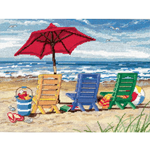 "Beach Chair Trio Needlepoint Kit, 16"" x 12"" Stitched In Wool & Thread"
