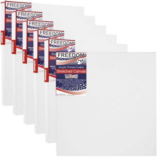 "6 Pack of U.S. Art Supply 20"" x 20"" Acrylic Primed Cotton Duck Stretched Canvas"