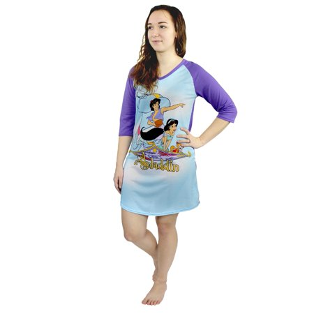 Disney Aladdin Princess Jasmine Women's 3/4 Sleeve Nightgown Pajamas XH000XDH](Princess Jasmine Pajamas)