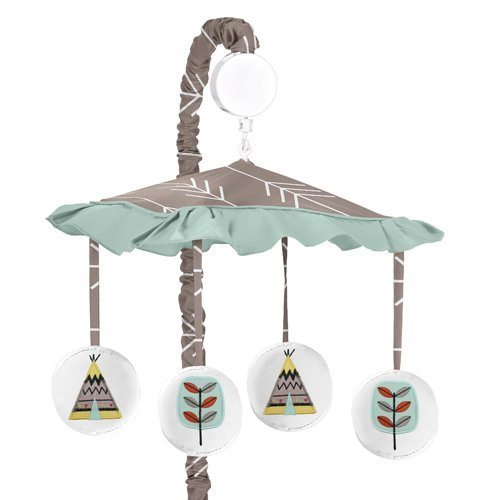 JoJo Designs Outdoor Adventure Aqua Blue and Gray Nature Musical Baby Crib Mobile