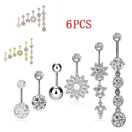 6PC Belly Button Ring Double Multicolor Stainless Steel Navel Body Piercing Jewelry Butterfly Gold Belly Button Ring