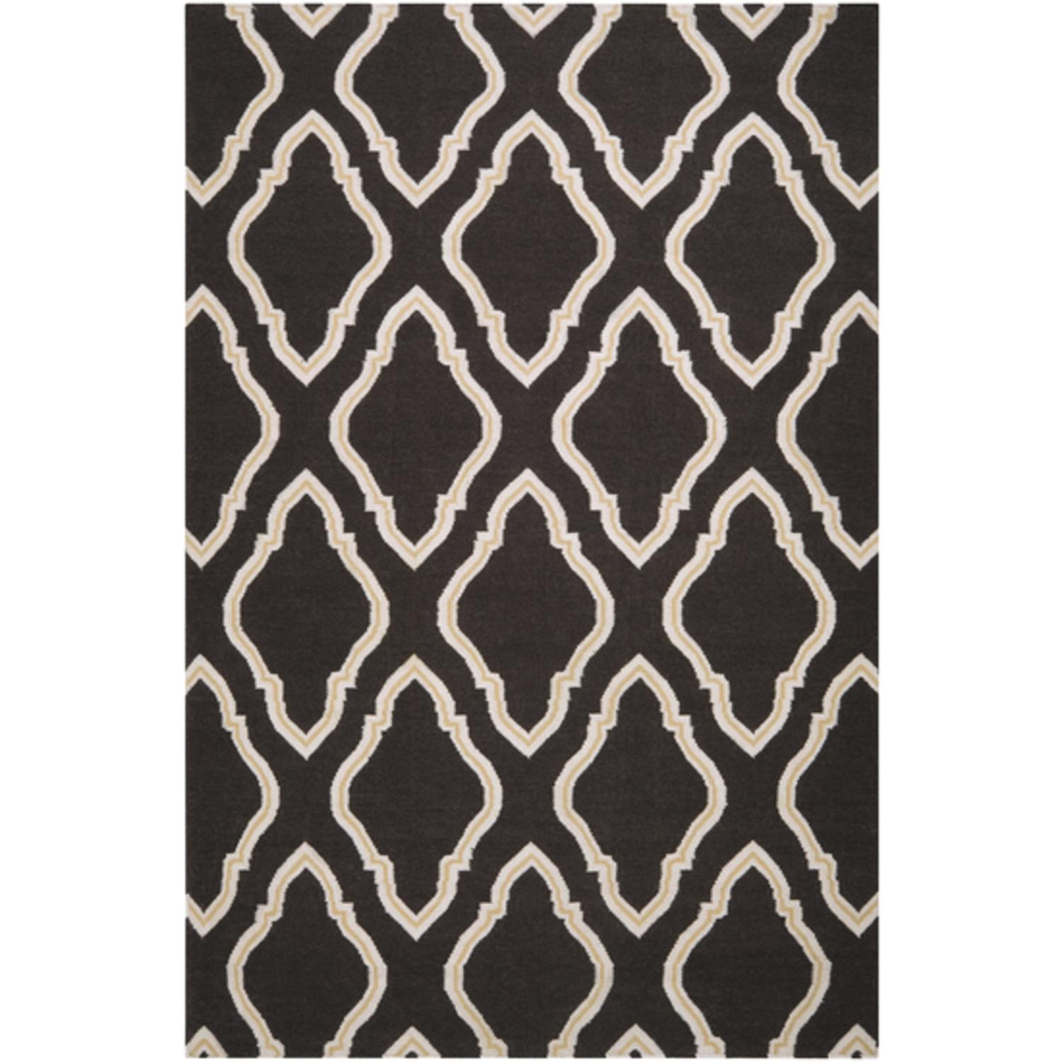 5' x 8' Diamond Scroll Dark Espresso Brown and White Wool Area Throw Rug