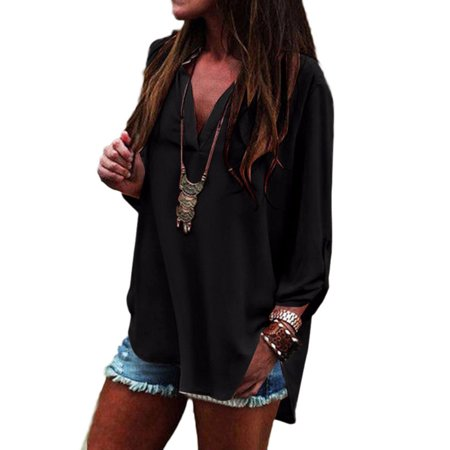 Plus Size Womens Shirt Chiffon Long Sleeve Shirt V Neck Loose Casual Tops Blouse