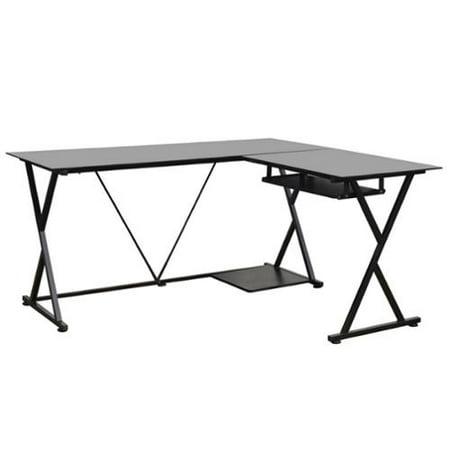 homegear glass l shaped corner computer work desk black. Black Bedroom Furniture Sets. Home Design Ideas