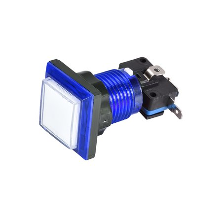 Game Push Button 34x34 Square 12V LED Illuminated Push Button Switch w Micro switch for Arcade Video White Blue 1pcs Illuminated Push Button Switches