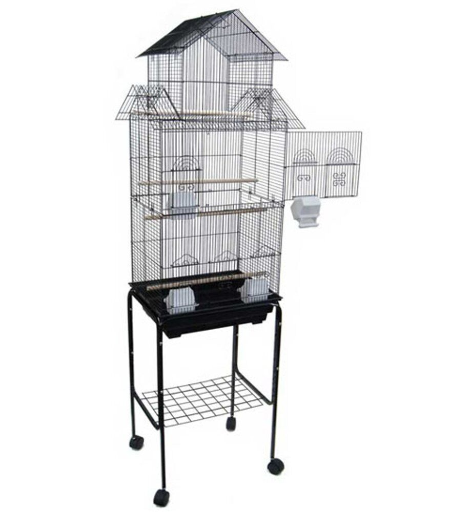 "YML 6844 3/8"" Bar Spacing Tall Pagoda Top Bird Cage with Stand, 18"" x 14""/Small, Black"