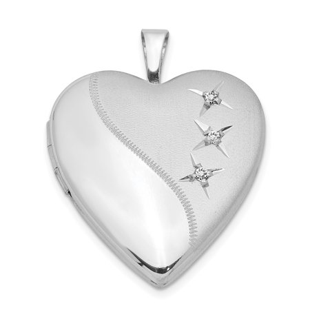 925 Sterling Silver 20mm Heart Photo Pendant Charm Locket Chain Necklace That Holds Pictures Gifts For Women For Her ()