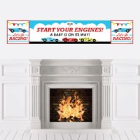 Let's Go Racing - Racecar - Baby Shower Race Car Decorations Party Banner