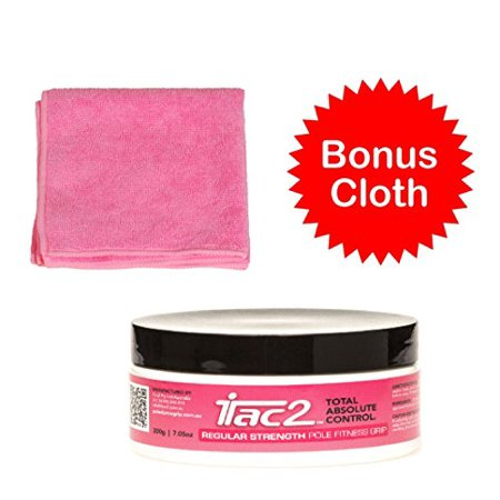 iTAC2 Level 2 (Regular Strength) Total Absolute Control Sports Pole Dance Hand Grip 200gm (7oz) Super Value Tub and Bonus Pink Microfiber Pole Cloth