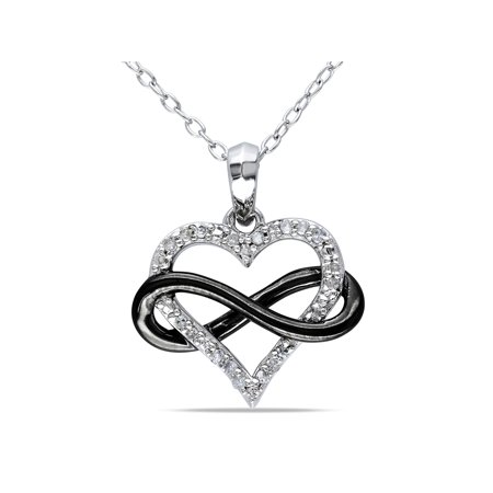 Diamond-Accent Two-Tone Sterling Silver Infinity Heart Women