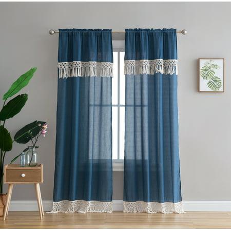 "Peach & Oak Lydia Window Curtain Blue with Fringe 84"" Panel - Single"