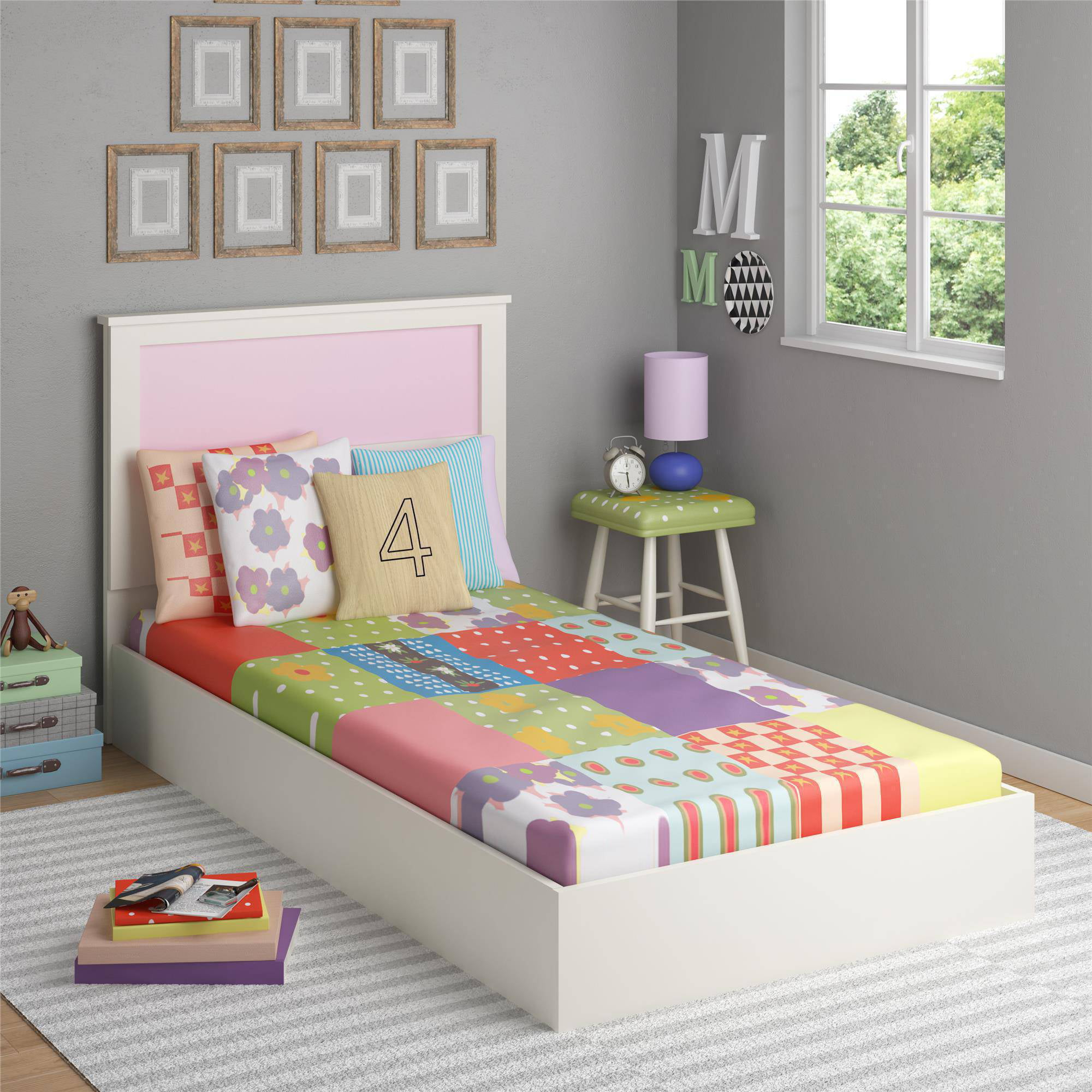 ameriwood home skyler twin bed with reversible headboard white walmartcom - Twin Bed Frames For Kids