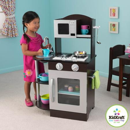 KidKraft Modern Espresso & Silver Toddler Kitchen Kids Play ...