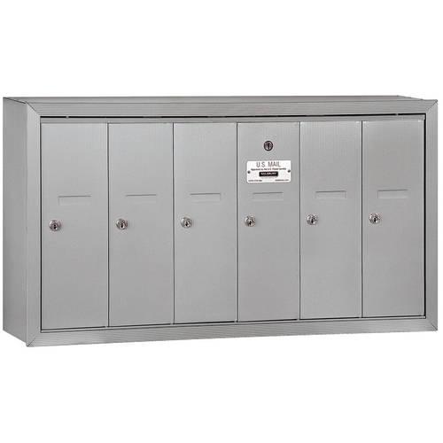 Salsbury Industries Vertical Mailbox, 6 Doors, Surface Mounted, USPS Access