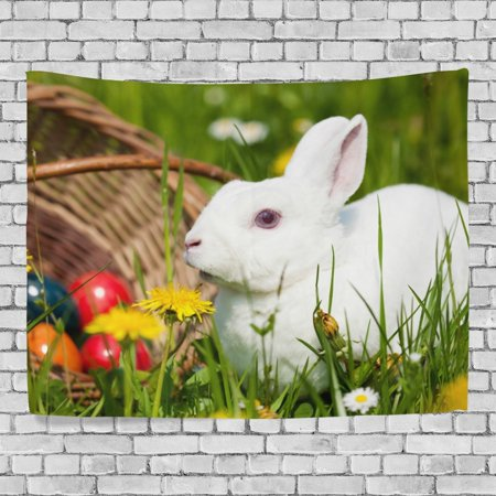 Eastern Tapestry Wall - MYPOP Easter Eggs Rabbit Tapestry Wall Decor Living Room Dorm Tapestries DIY 80 x 60 inches